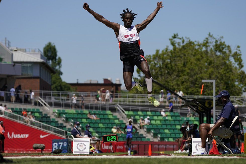 Will Claye competes during the qualifying round for men's long jump at the U.S. Olympic Track...