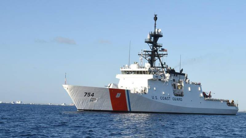 The U.S. Coast Guard Cutter James transits the Atlantic Ocean on March 29, 2017, in this file...
