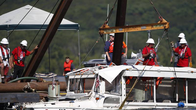 FILE - In this July 23, 2018 file photo, a duck boat that sank in Table Rock Lake in Branson,...