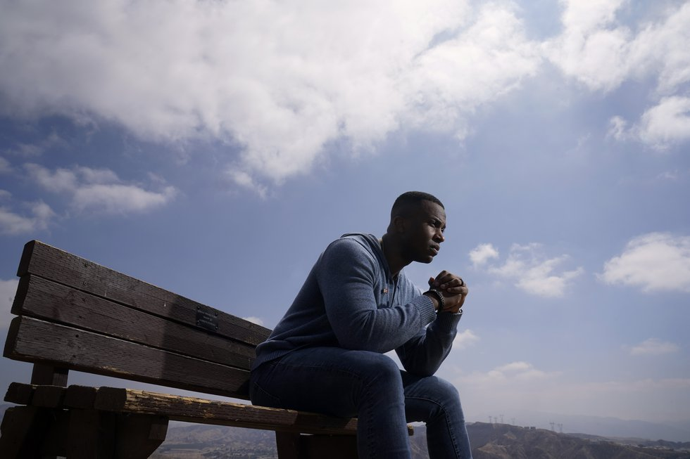 DeMarcus Gilliard, a veteran Marine captain, sits for a portrait in Santa Clarita, Calif., on...