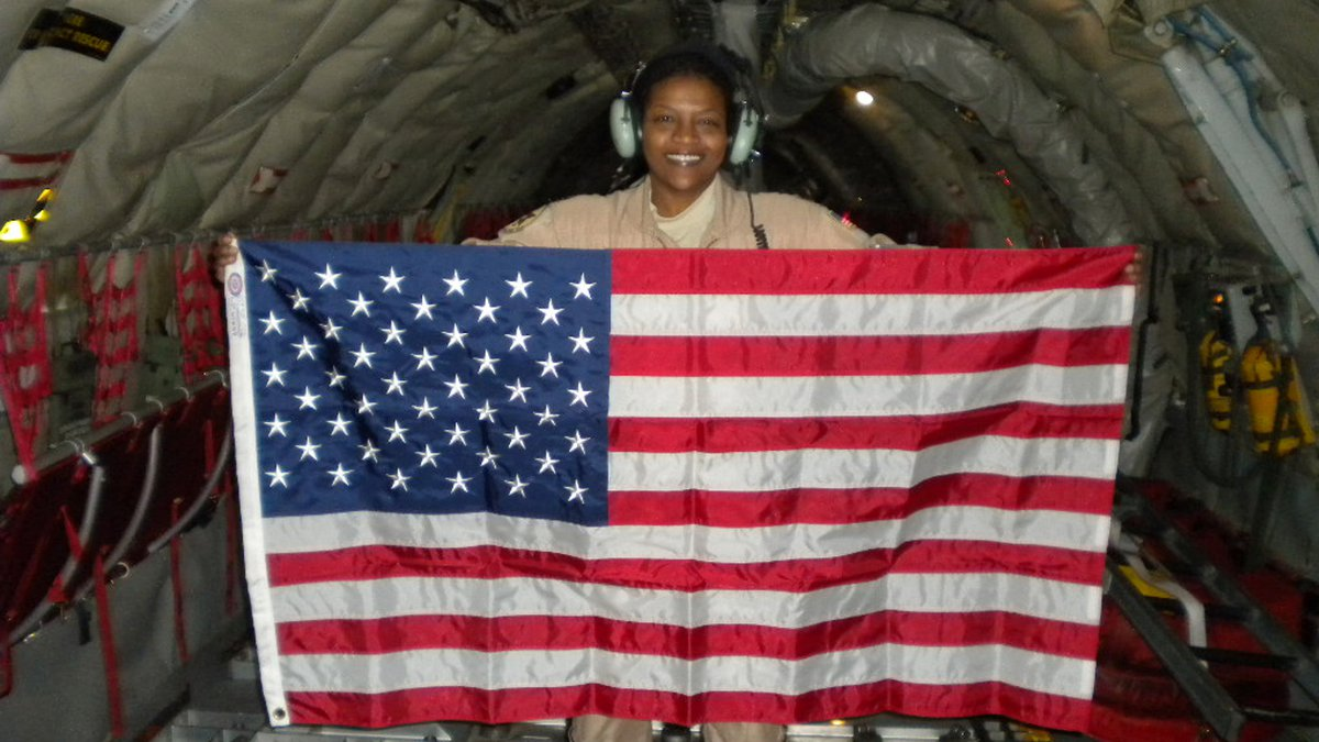 In this Dec. 28, 2009 photo provided by Retired Air Force Lt. Col. Stephanie Davis, she holds a...