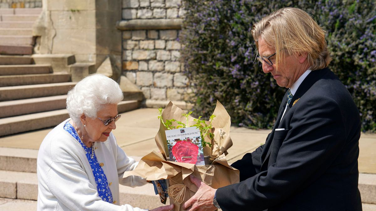 Britain's Queen Elizabeth II receives a Duke of Edinburgh rose, given to her by Keith Weed,...