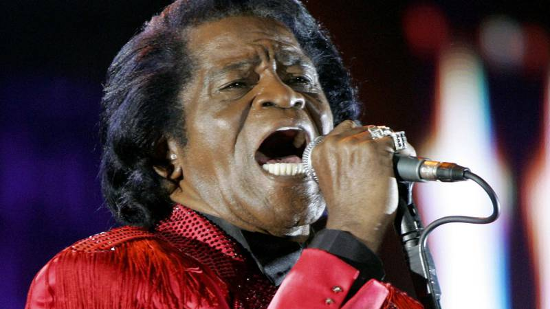 FILE - In this July 6, 2005 file photo, James Brown performs on stage during the Live 8 concert...