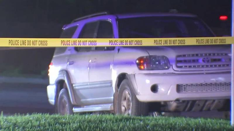 An SUV was driven to safety by young children in Houston after someone shot and killed their...