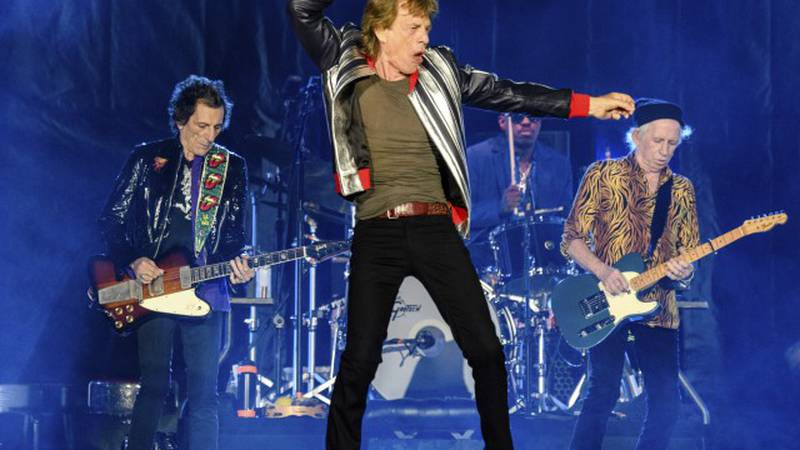 Ronnie Wood, from left, Mick Jagger, Steve Jordan and Keith Richards of the Rolling Stones...